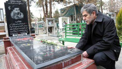 تصویر پدر هسته ای ایران بر آرامگاه یار دیرین شهید تهرانی مقدم پدر موشکی ایران